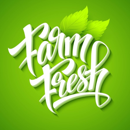 farm fresh: Farm Fresh, calligraphic inscription. Vector illustration