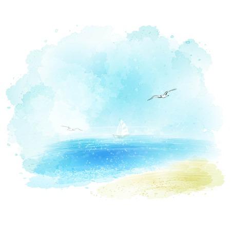 Fundo do vetor de uma aguarela do Seascape EPS 10