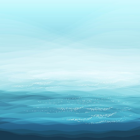 Abstract Design Creativity Background of Blue Sea Waves, Vector Illustration   イラスト・ベクター素材