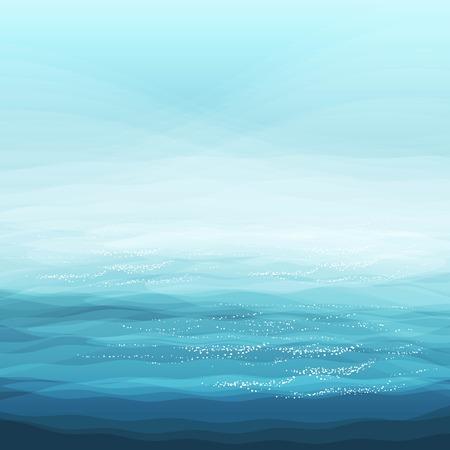 Abstract Design Creativity Background of Blue Sea Waves, Vector Illustration  Illustration