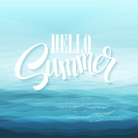 estate: Abstract Design Creatività Sfondo di Blue Sea Waves, illustrazione vettoriale Vettoriali