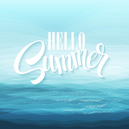 liquid summer: Abstract Design Creativity Background of Blue Sea Waves, Vector Illustration  Illustration