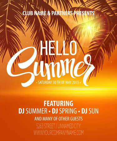 orange sunset: Hello Summer Beach Party Flyer. Vector Design   Illustration