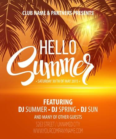Hello Summer Beach Party Flyer. Vector Design   Illustration