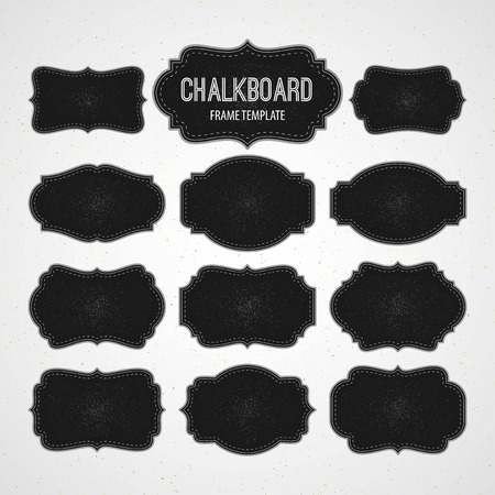 Set of Chalkboard Frames and Labels. Vector illustration