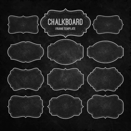 Set of Chalkboard Frames and Labels. Vector illustration Stock Vector - 40862669