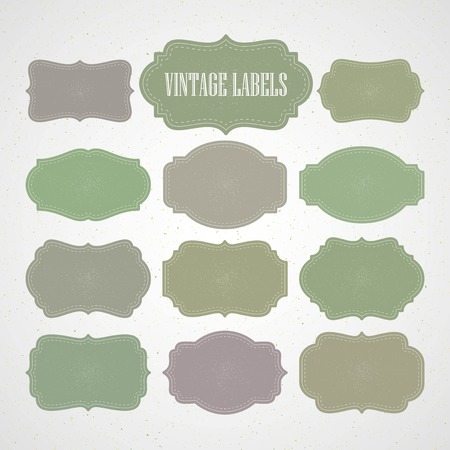 paper art: Vector set vintage labels and frame. Vector illustration   Illustration