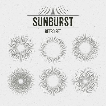 Set Of Retro Sun Burst Shapes Vector Illustration