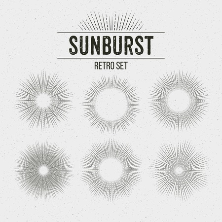 sonne: Set von Retro Sun Burst-Formen. Vektor-Illustration