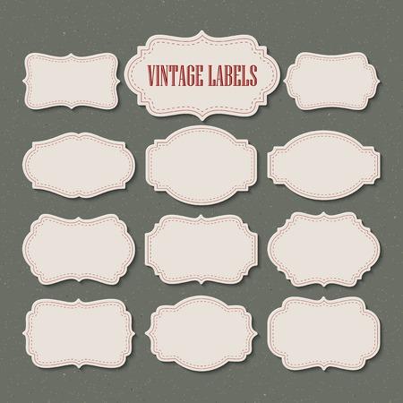 сбор винограда: Векторный набор винтажных этикеток и рамы. Векторная иллюстрация