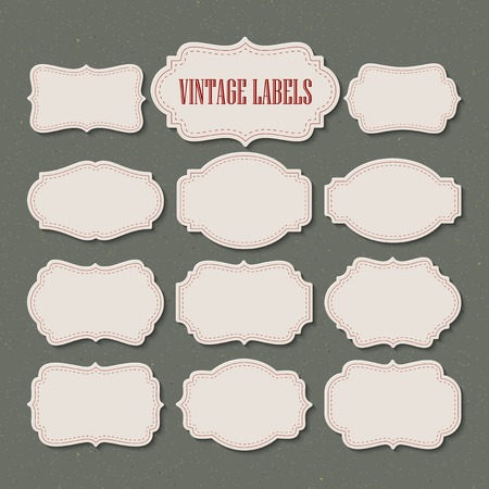 Vector set vintage labels and frame. Vector illustration. Stock Photo