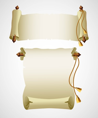 ancient papyrus: Vertical old scroll paper. Vector illustration   Illustration