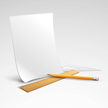 Pencil, ruler and a piece of paper. Vector illustration   Vector