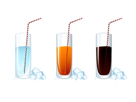 Set of cold drink glasses on white background. Vector illustration  Vector