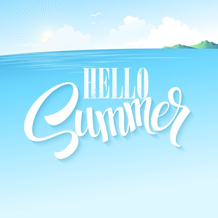 sea scene: Summer blue sea landscape. Vector illustration.
