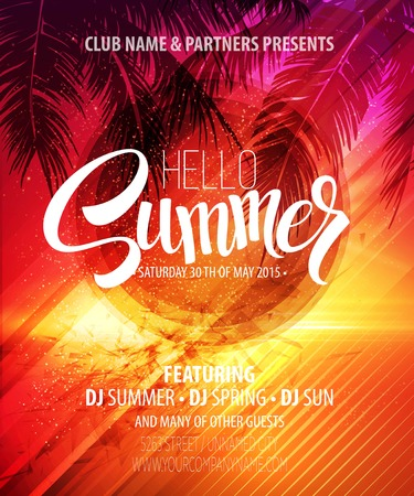 retro sunrise: Hello Summer Beach Party Flyer. Vector Design