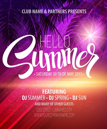 tropical sunset: Hello Summer Beach Party Flyer. Vector Design