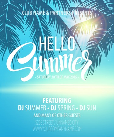 party club: Hello Summer Beach Party Flyer. Vector Design