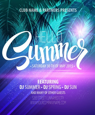 sunset tree: Hello Summer Beach Party Flyer. Vector Design