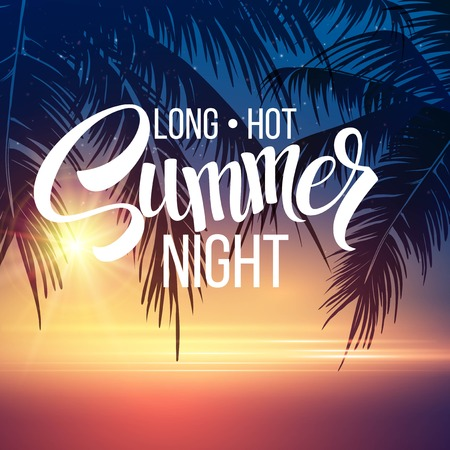 noche: Noche De Verano. Palmeras en la noche. Ilustración vectorial