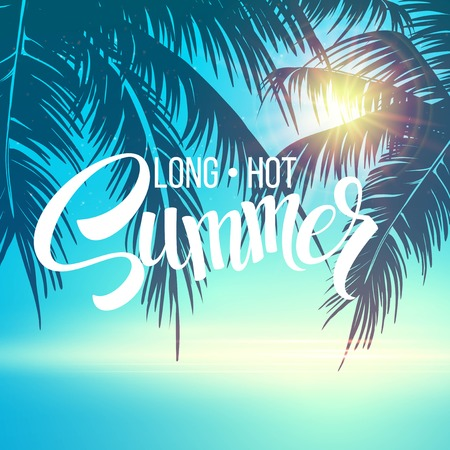 Summer holidays vector background  with palm leaves and sea Reklamní fotografie - 40863125