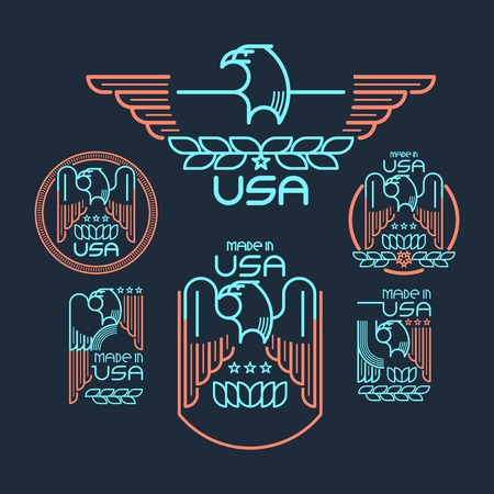 usa stamp: Made in the USA Symbol with  American flag and eagle Set of templates emblems.