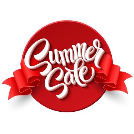 여름 판매. 리본 라벨. 일러스트