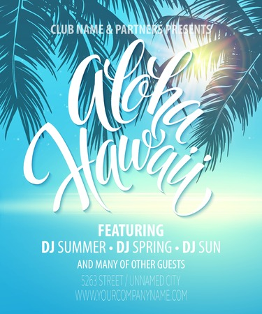 sun beach: Aloha Hawaii  Summer Beach Party Poster.