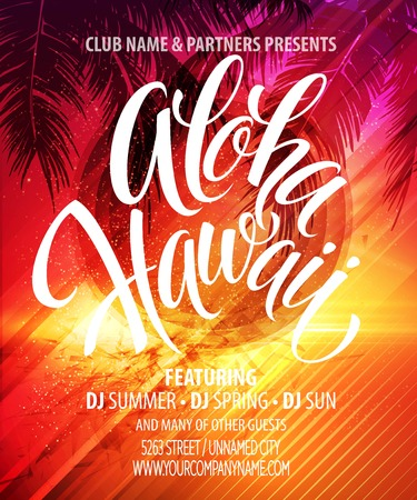 hawaiana: Cartel Aloha Beach Party Summer Hawai. Vectores