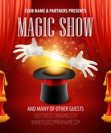 red theater curtain: Magic trick performance, circus, show concept.