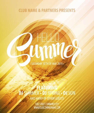 Summer party. Template poster.  Vectores