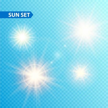 太陽バースト コレクション。  イラスト・ベクター素材