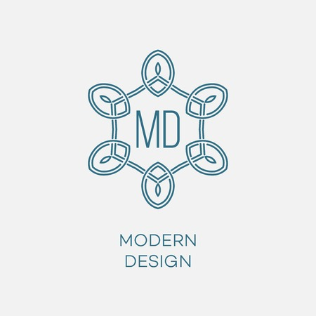mono: geometric frame in mono line style. Monogram design element.