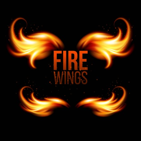 Wings in Flame and Fire. Illustration on black EPS 10