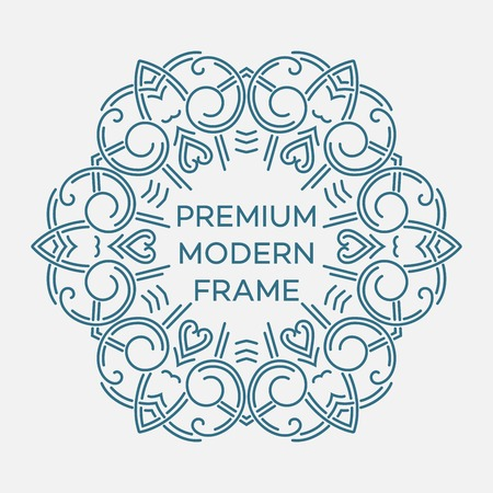 mono: geometric frame in mono line style. Monogram design element. Illustration