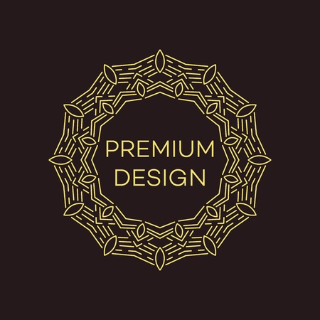 simple logo: Vector geometric frame in mono line style. Monogram design element. Vector illustration EPS 10