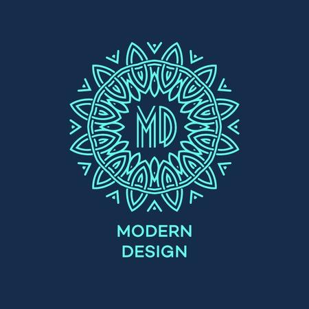 ornamental background: Vector geometric frame in mono line style. Monogram design element. Vector illustration EPS 10