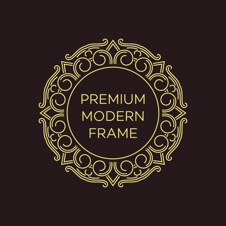 art logo: Vector geometric frame in mono line style. Monogram design element. Vector illustration EPS 10