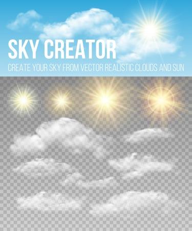 Hemel schepper. Realistische wolken en zon. Stock Illustratie