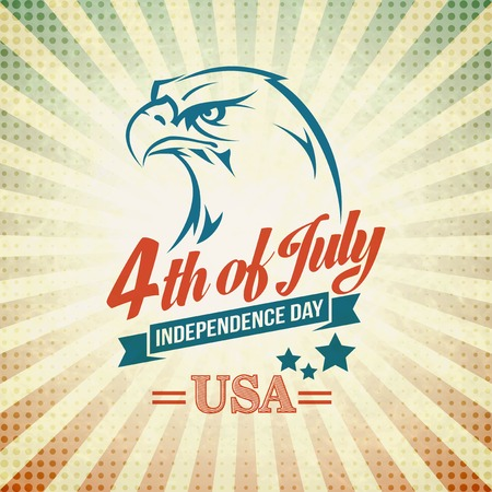 Independence Day vakantiekaart met typografie en een adelaar.
