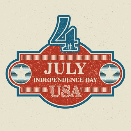 independent day: Retro typography card Independence Day.
