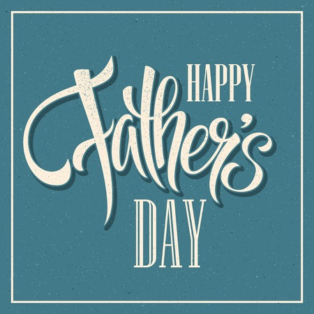 Happy Fathers Day. Hand lettering card.  矢量图像