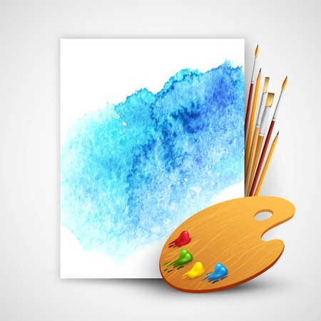 painter palette: Realistic brush and palette on blue watercolor background  Illustration