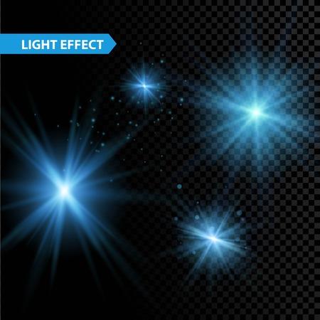 輝く光の効果のセットは、透明な背景の上で輝きとバーストを星します。