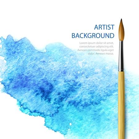 青い水彩背景に現実的なブラシ