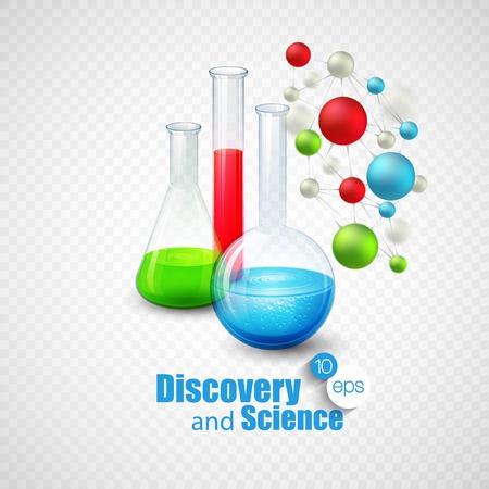 química: Frascos de vidrio con líquido de color en el interior. Vectores