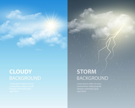 cloudy weather: Thunder and lightning, sun and clouds. Weather background. Vector illustration