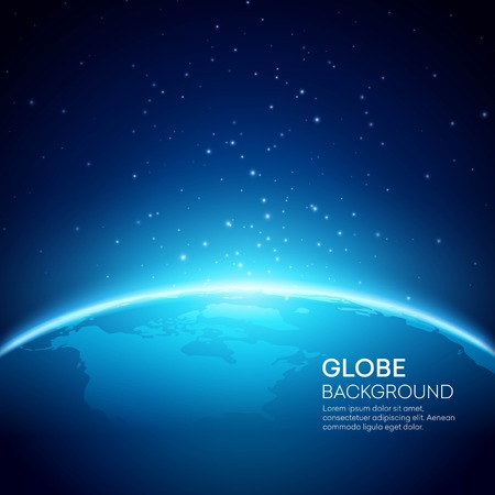 horizon: Blue globe earth background. Vector illustration