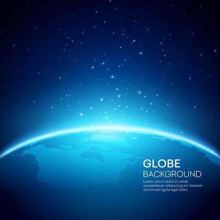 Fondo de la tierra Globo azul. Ilustración vectorial