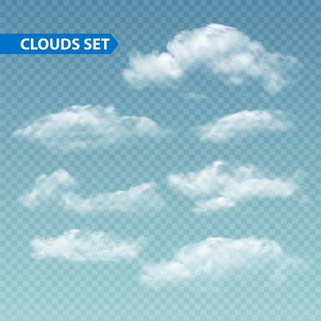 isolated on white: Set of transparent different clouds. Vector illustration